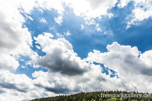 Große Wolken über einem Waldstück - kostenlose Bilder und Fotos